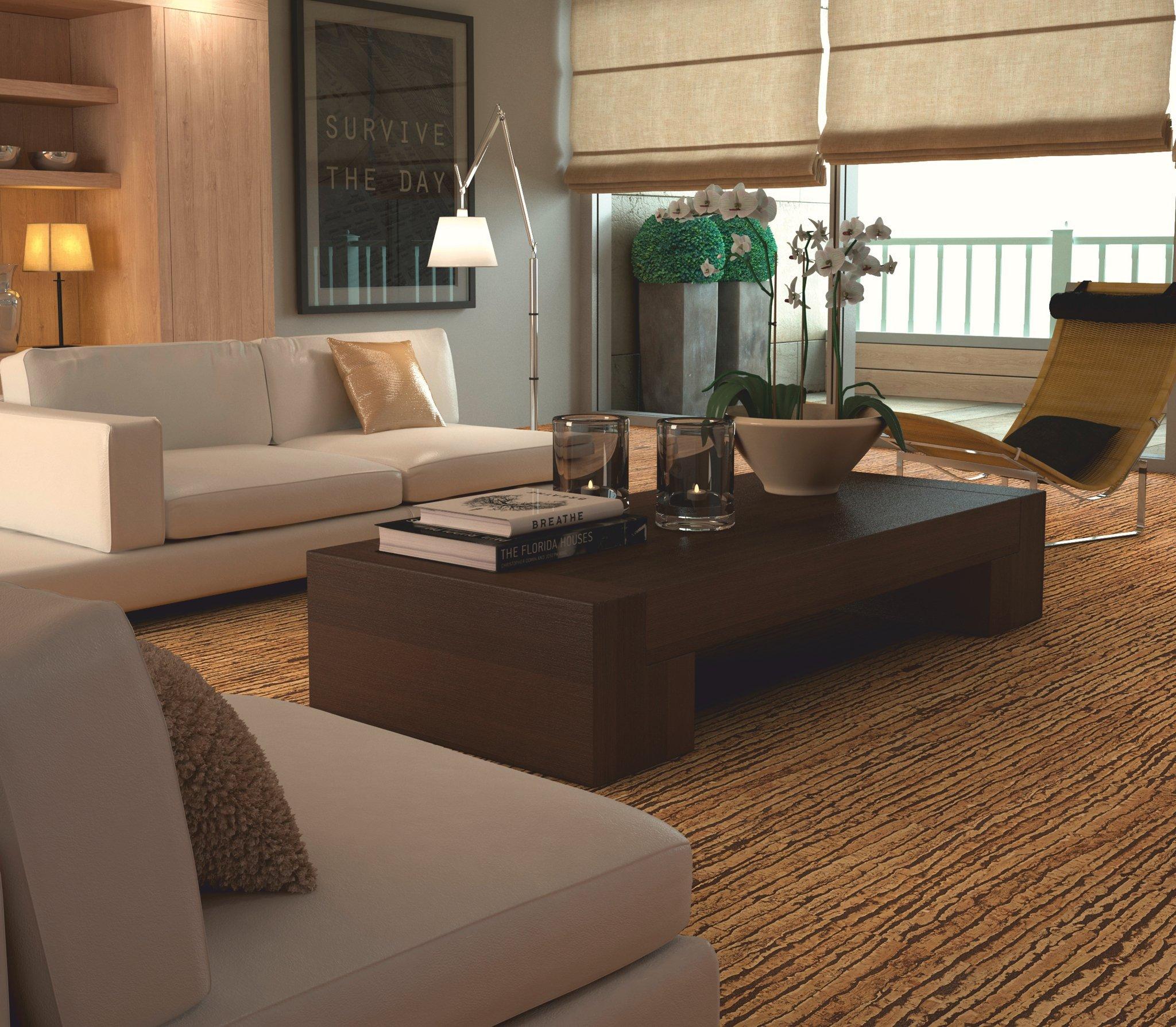 пробковый пол в гостиной