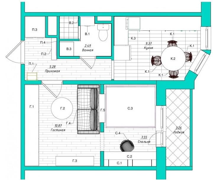 Схема перепланировки однокомнатной квартиры площадью 38 кв м