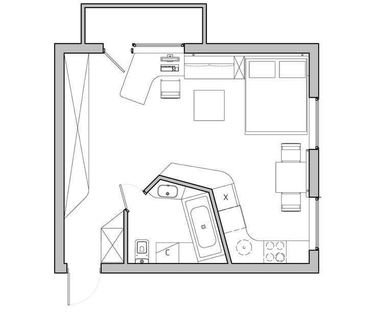Проект однокомнатной квартиры свободной планировки