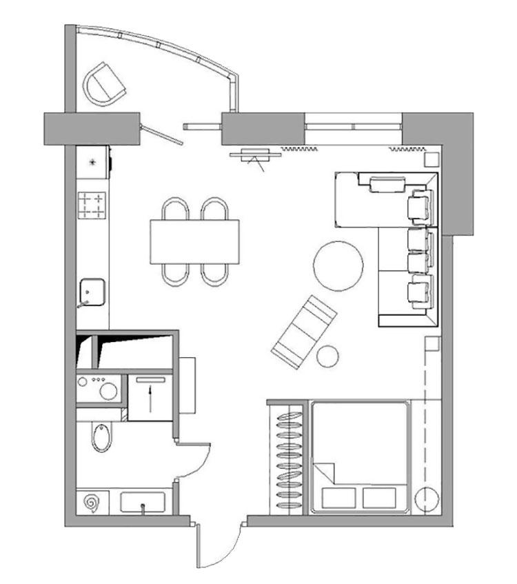 План однокомнатной квартиры после перепланировки