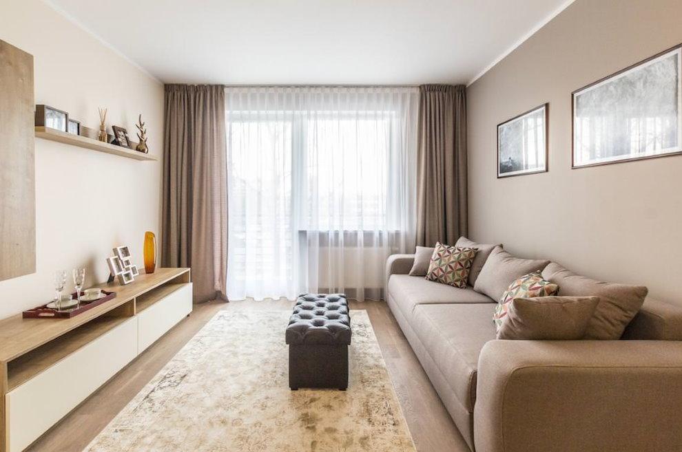 Прямые светло-коричневые шторы в современной гостиной