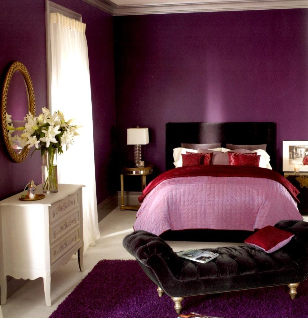 Пурпурная спальня для молодой девушки