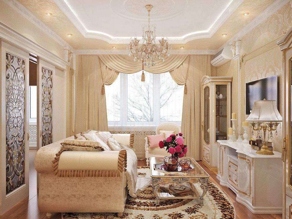 Дизайн небольшой гостиной в стиле классика