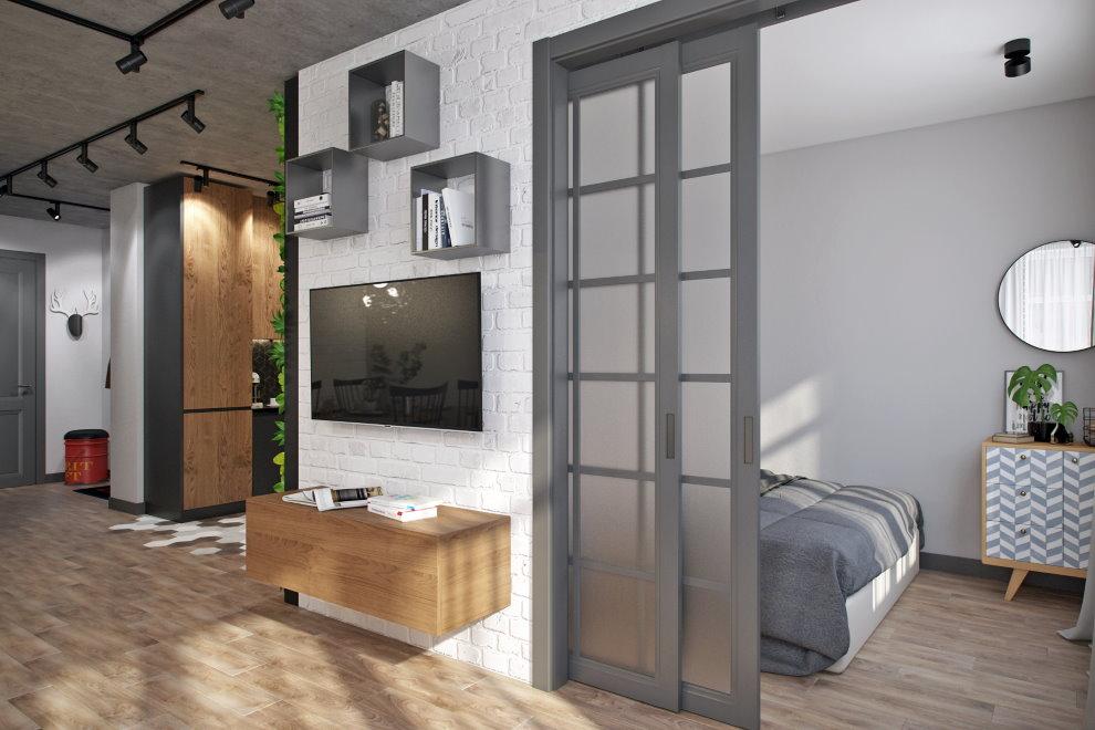 Раздвижная дверь в спальню двухкомнатной квартиры