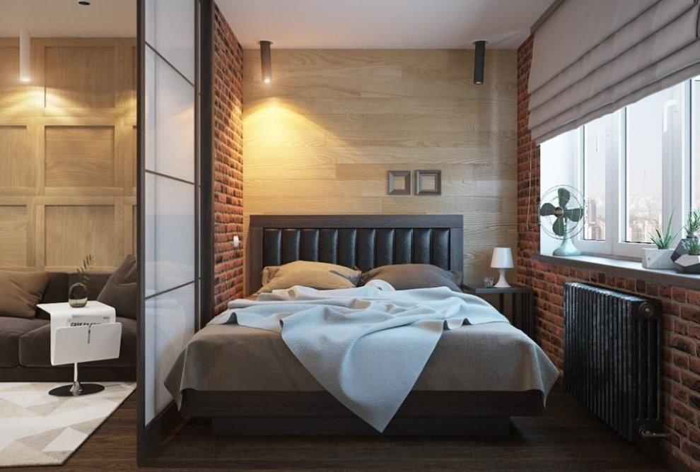 Кирпичная отделка спальни в маленькой квартире