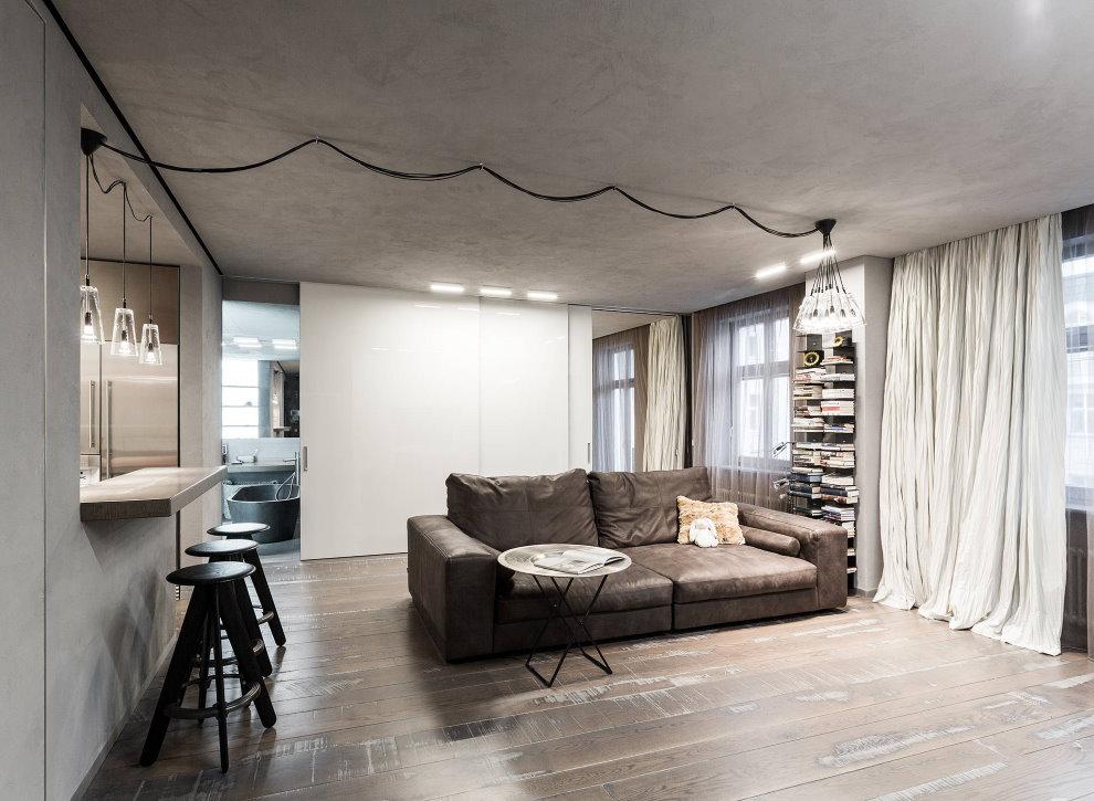 Открытая проводка на потолке зала в стиле лофт