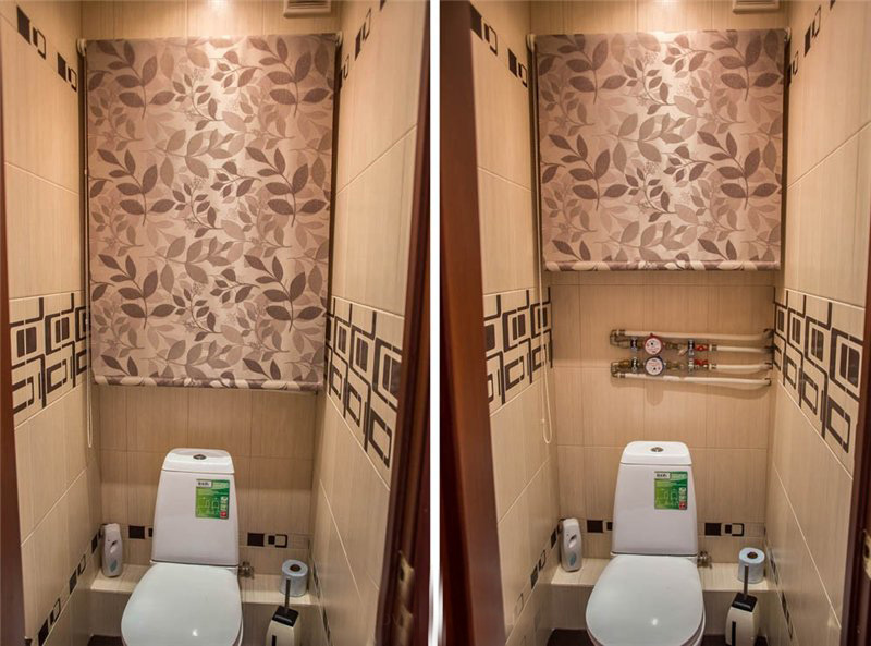 Рулонная штора в туалете за унитазом