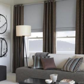 шторы в зал на два окна идеи дизайна