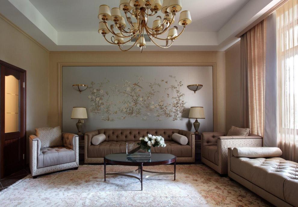 Отделка стен гостиной в стиле неоклассика