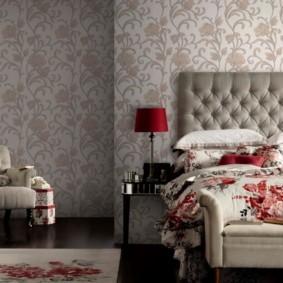 серые обои в спальне фото дизайна