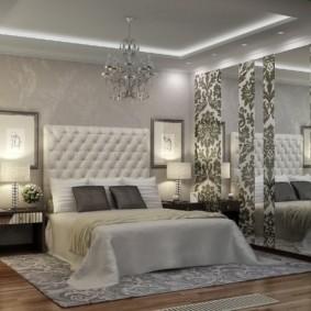 серые обои в спальне дизайн идеи
