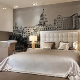 серые обои в спальне декор фото
