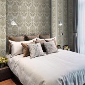 серые обои в спальне фото декора