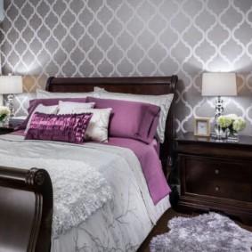 серые обои в спальне идеи декор