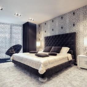 серые обои в спальне фото интерьер