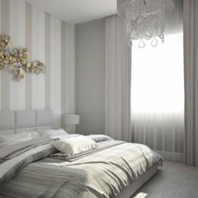 серые обои в спальне оформление
