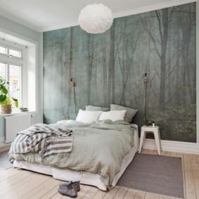 серые обои в спальне фото варианты