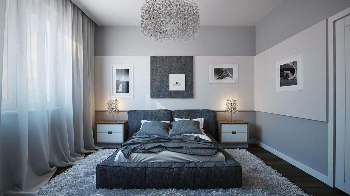 серые обои в спальне фото дизайн