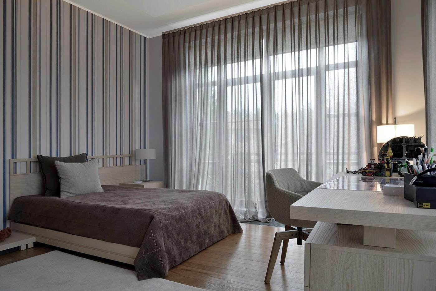 серые обои в спальне фото оформления