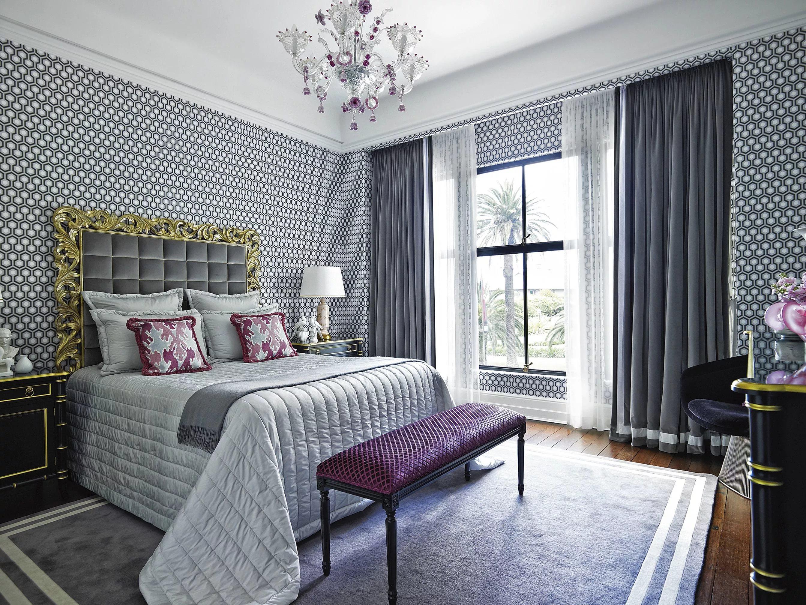 серые обои в спальне идеи оформления
