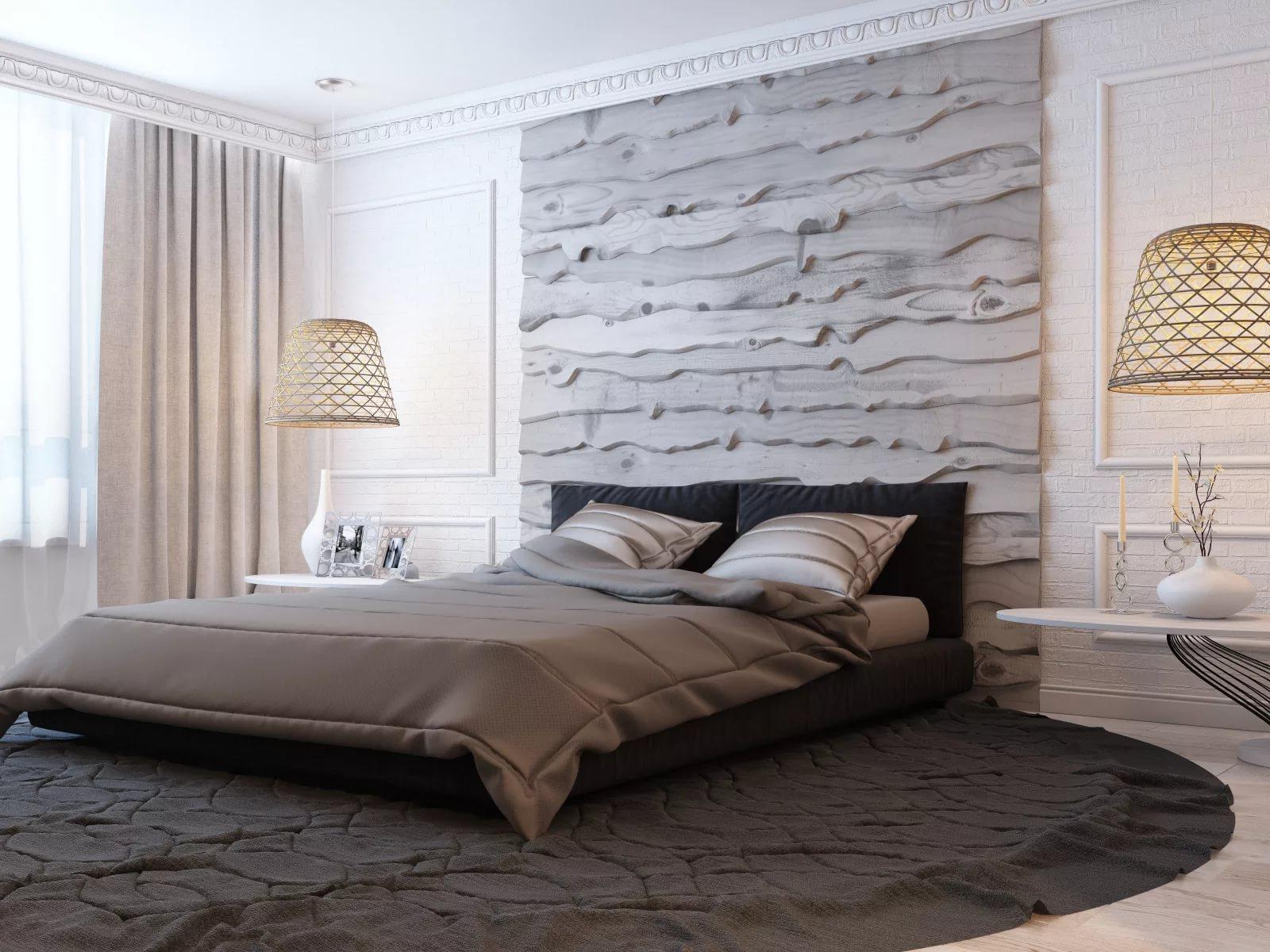 серые обои в спальне интерьер фото