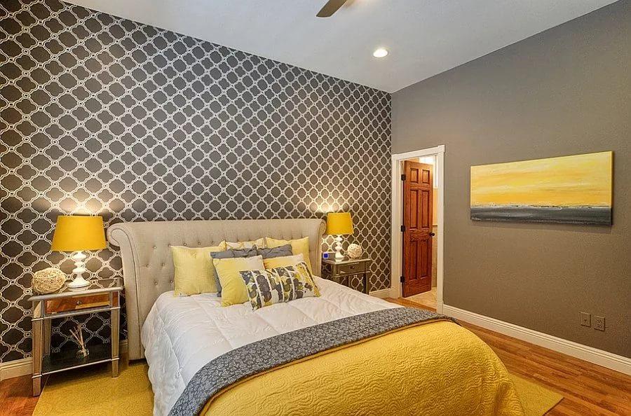 серые обои в спальне интерьер