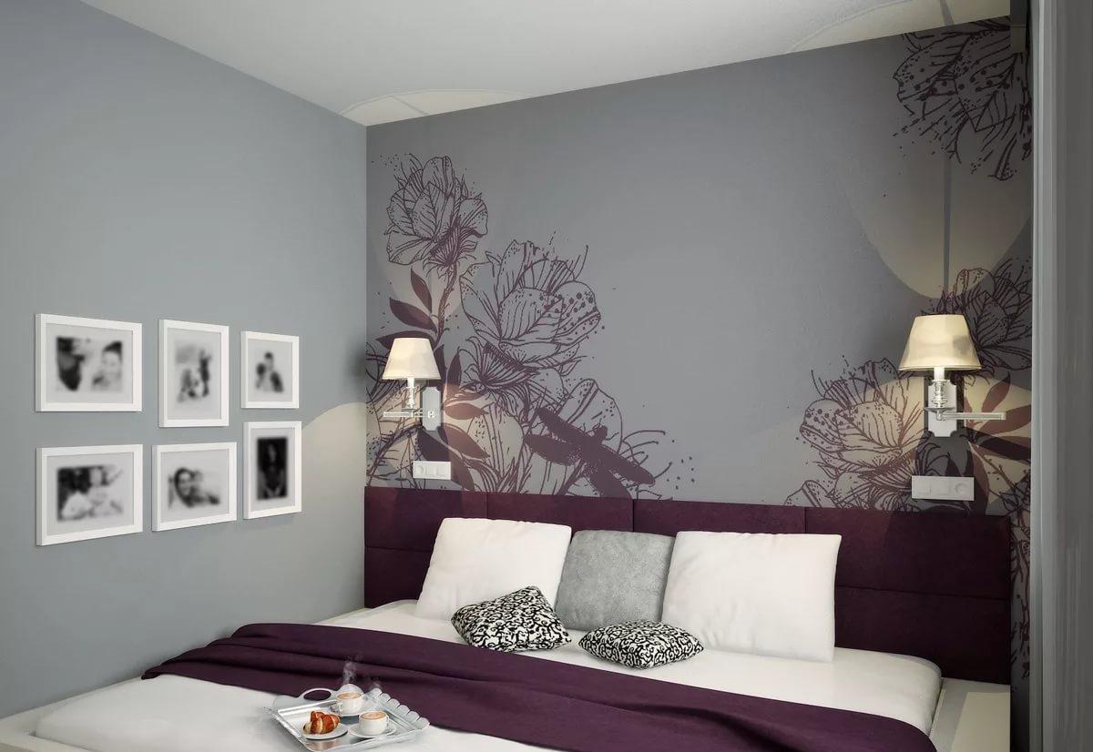 серые обои в спальне виды
