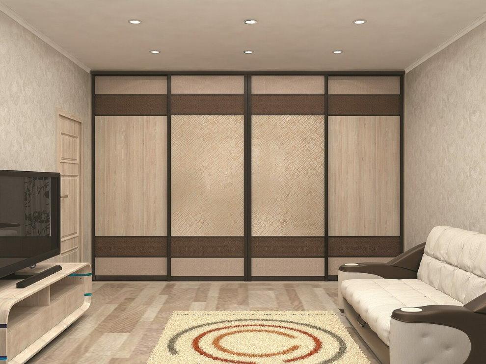 Встроенный шкаф-купе в зале современной квартиры