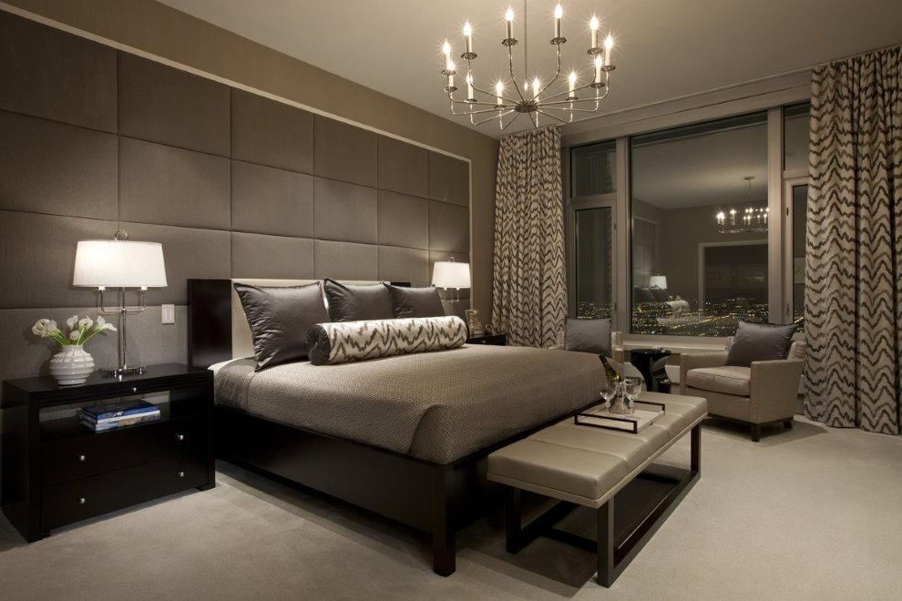 Шоколадные оттенки в интерьере современной спальни