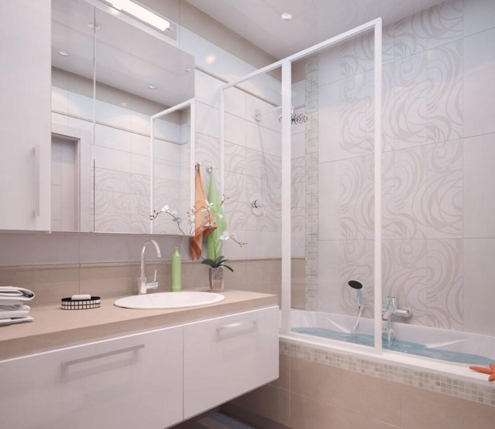 Пластиковая шторка на ванне прямоугольной формы