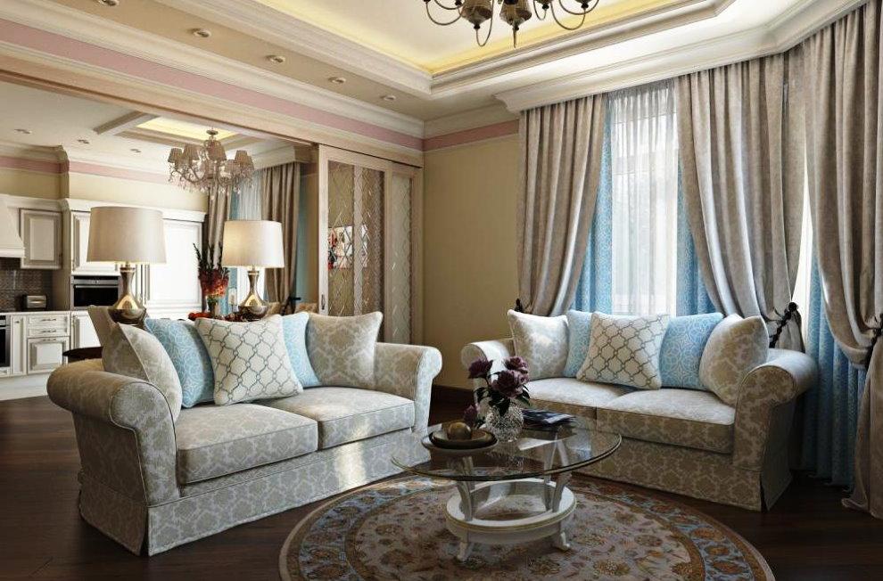 Двойные занавески в гостиной стиля неоклассика