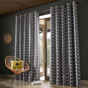 шторы на люверсах в гостиную декор фото