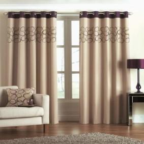 шторы на люверсах в гостиную оформление фото