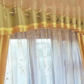 шторы на люверсах в гостиную фото видов