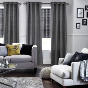 шторы на люверсах в гостиную виды декора