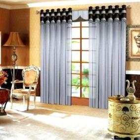 шторы на люверсах в гостиную дизайн фото