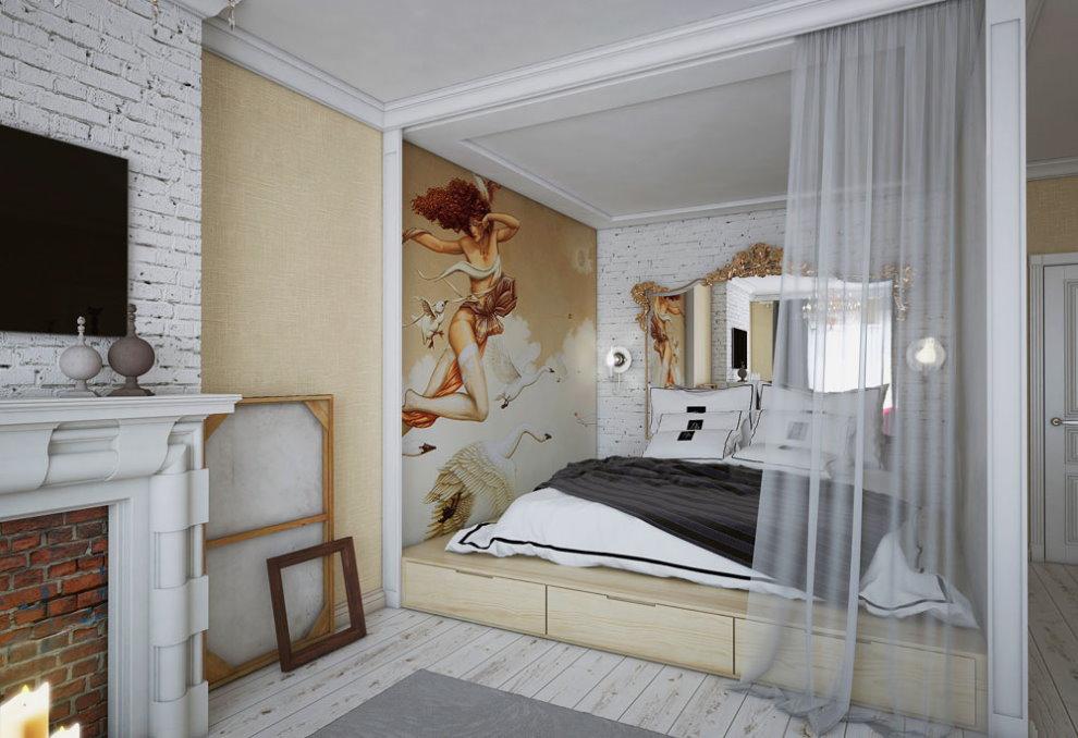 Спальное место в однокомнатной квартире молодого человека