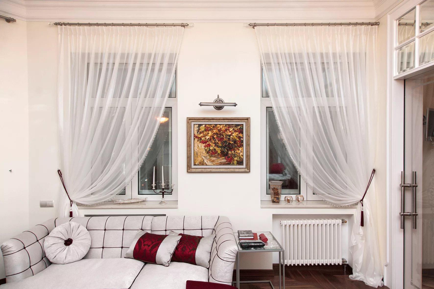 шторы в зал на два окна идеи