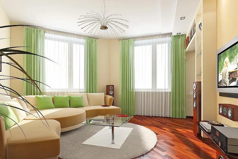 тело дизайн комнаты с тремя окнами фото живет