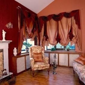 шторы в зал на два окна фото декор