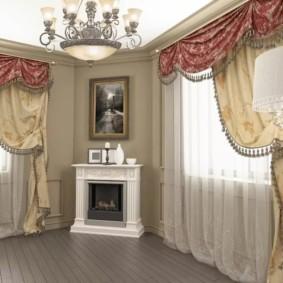 шторы в зал на два окна фото декора