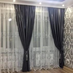 шторы в зал на два окна идеи интерьера