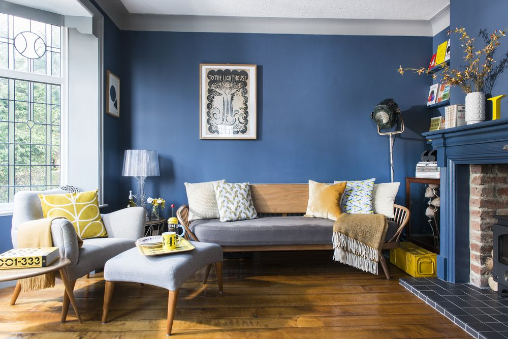 синие стены в интерьере