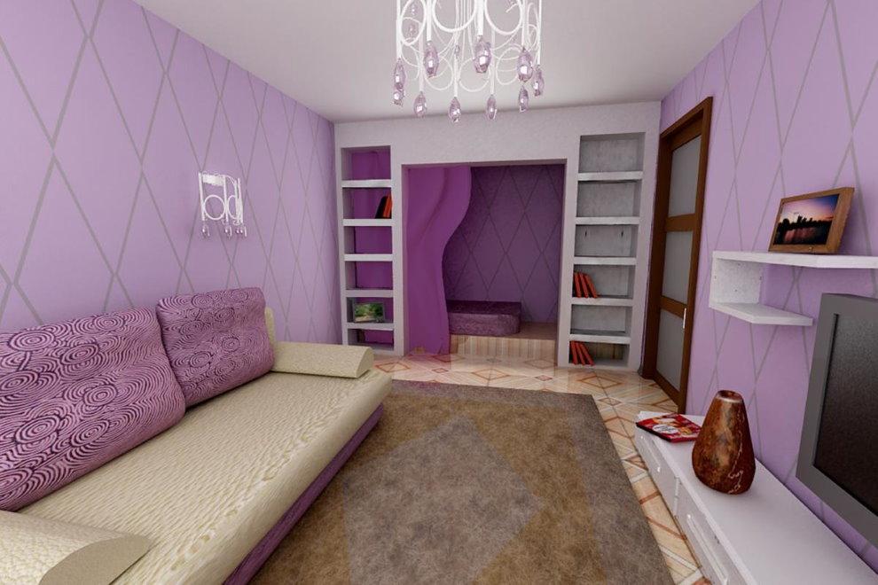 Интерьер гостиной с сиреневыми стенами