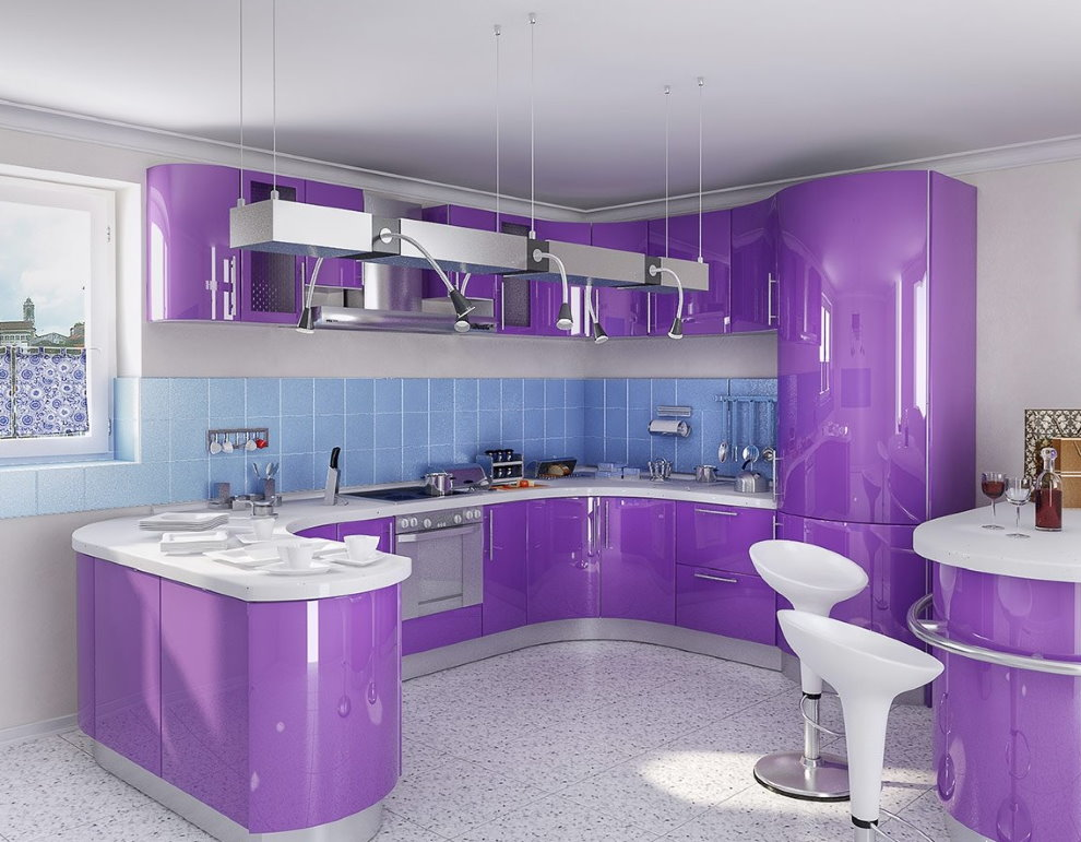 Современная кухня с фасадами светло-фиолетового цвета