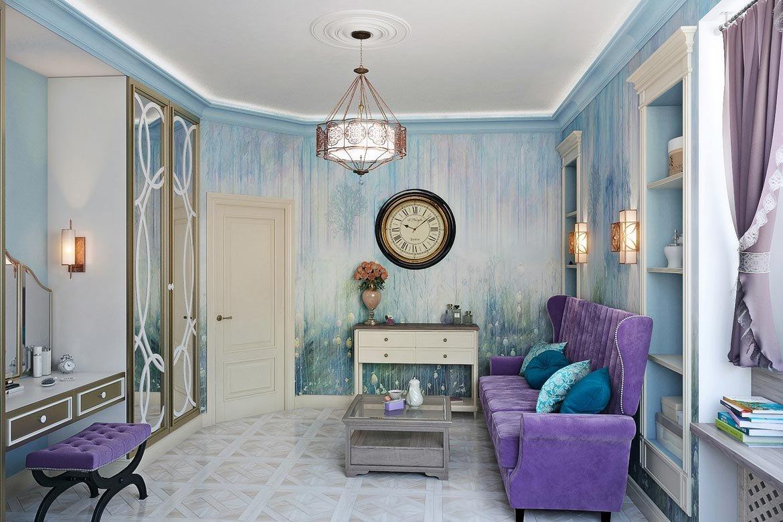 сиренево голубая гостиная