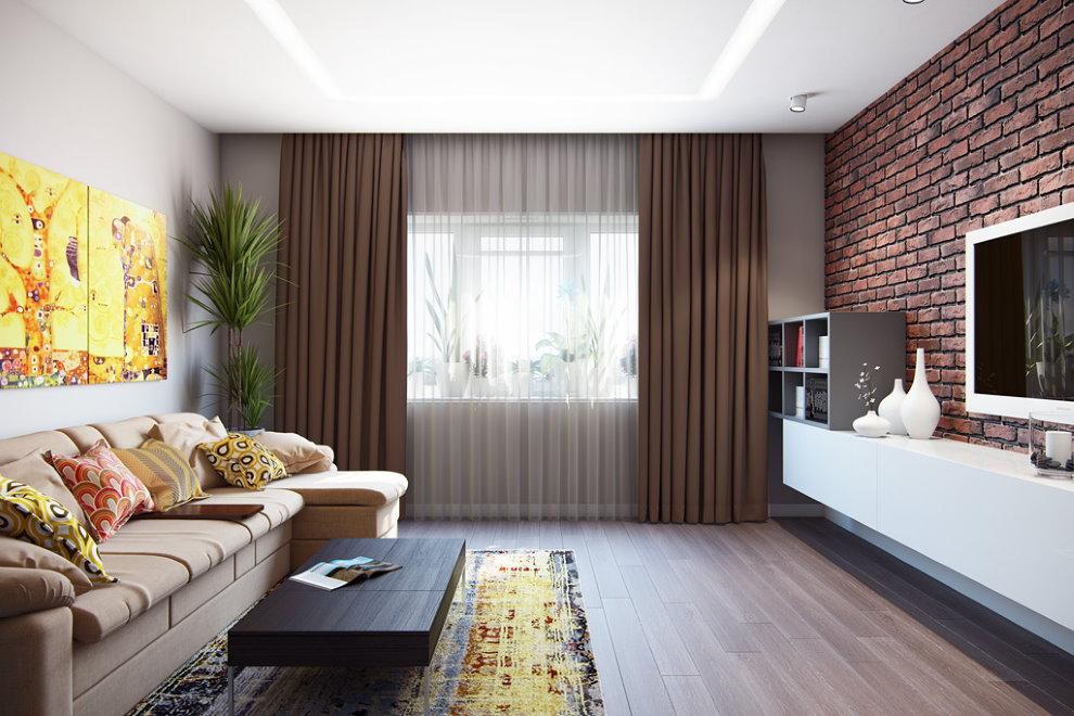Кирпичная кладка в гостиной современной квартиры