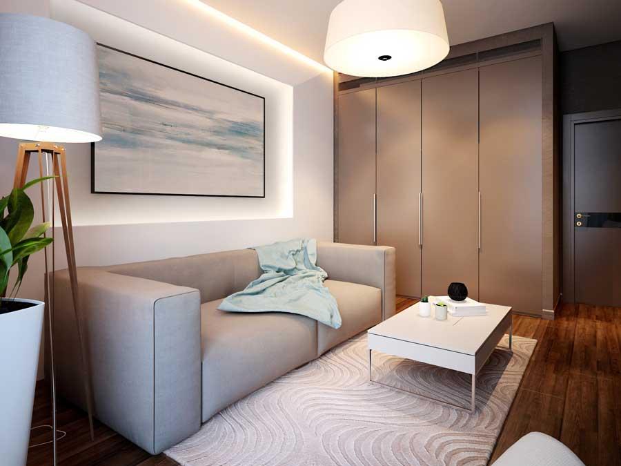 фото спален в квартире с диваном лисенком