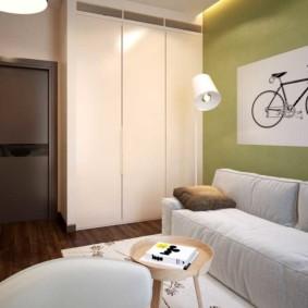 спальная комната с диваном виды декора