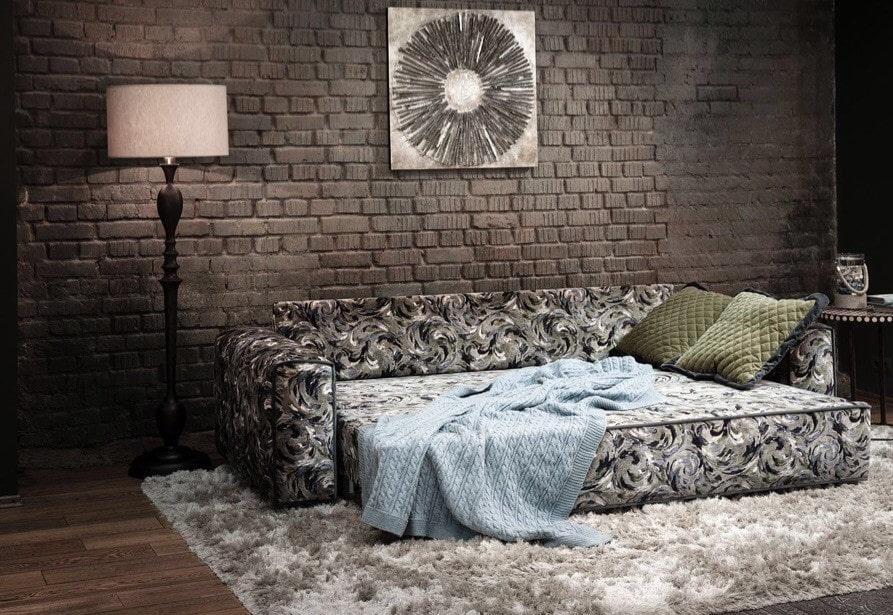 спальная комната с диваном лофт
